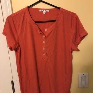 Cabi Size M Henley Tee Sunset Coral Top #263